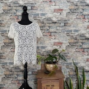 Rafaella Ivory Lace Blouse Fringe Sleeves Medium